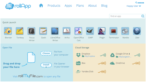 New rollApp user home page